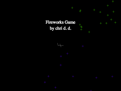 Fireworks Game, by chri d. d. (the title screen also shows an airplane and some fireworks)
